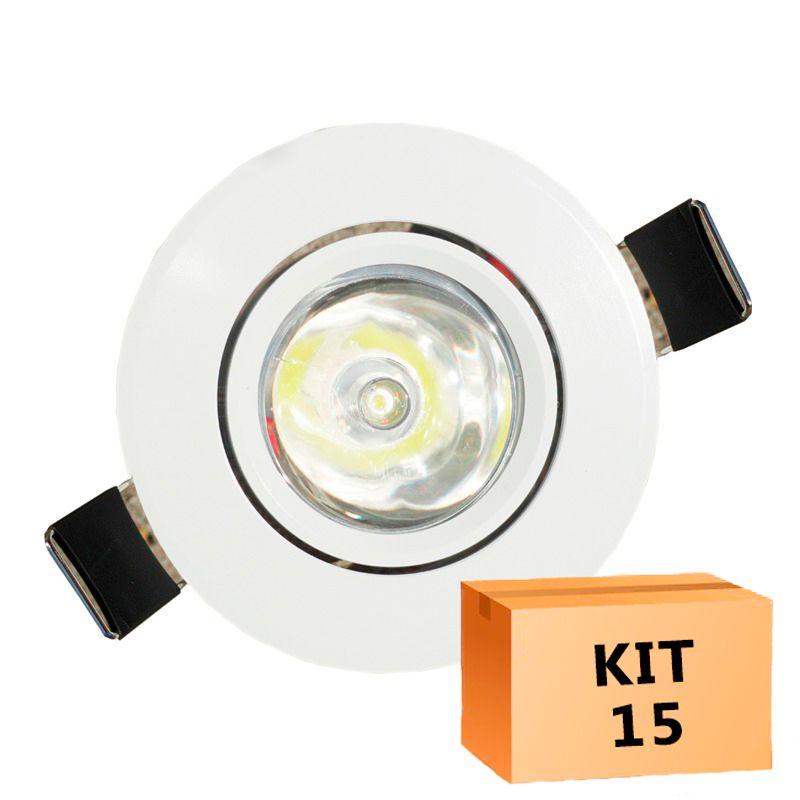 Kit 15 Mini Spot Led Direcionável Redondo 1W Branco Frio 6000K