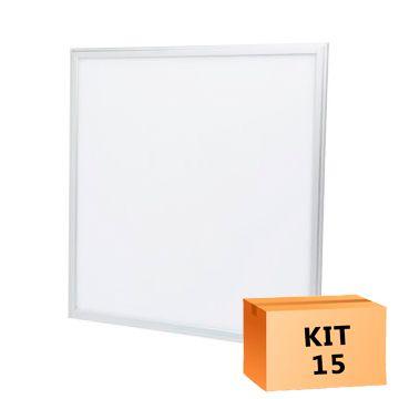 Kit 15 Plafon Led de Embutir Quadrado  36W - 40 x 40 cm Branco Frio 6000K