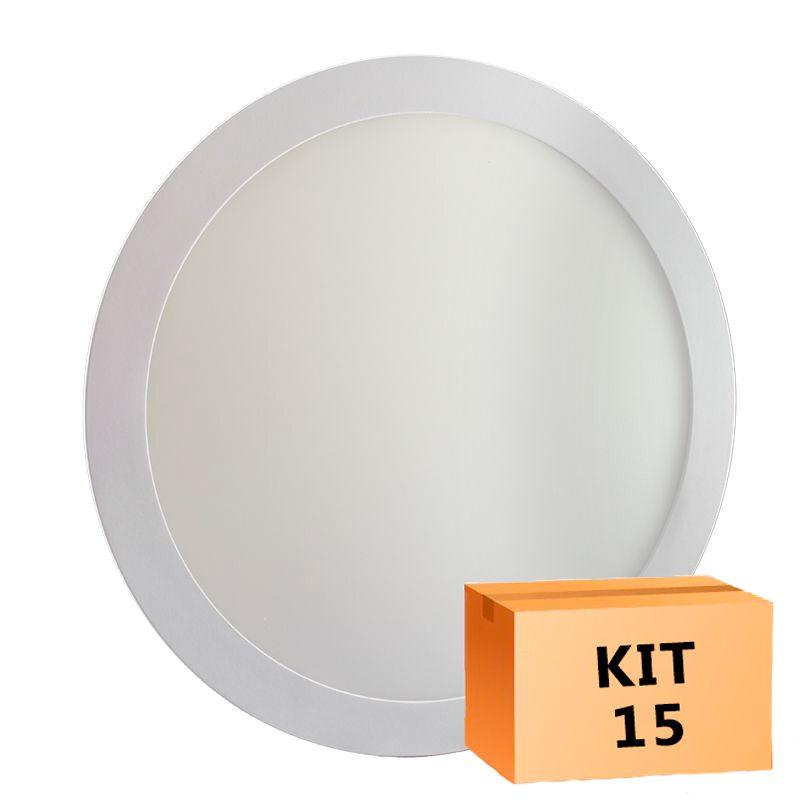Kit 15 Plafon Led de Embutir Redondo  24W - 30 cm Branco Frio 6000K