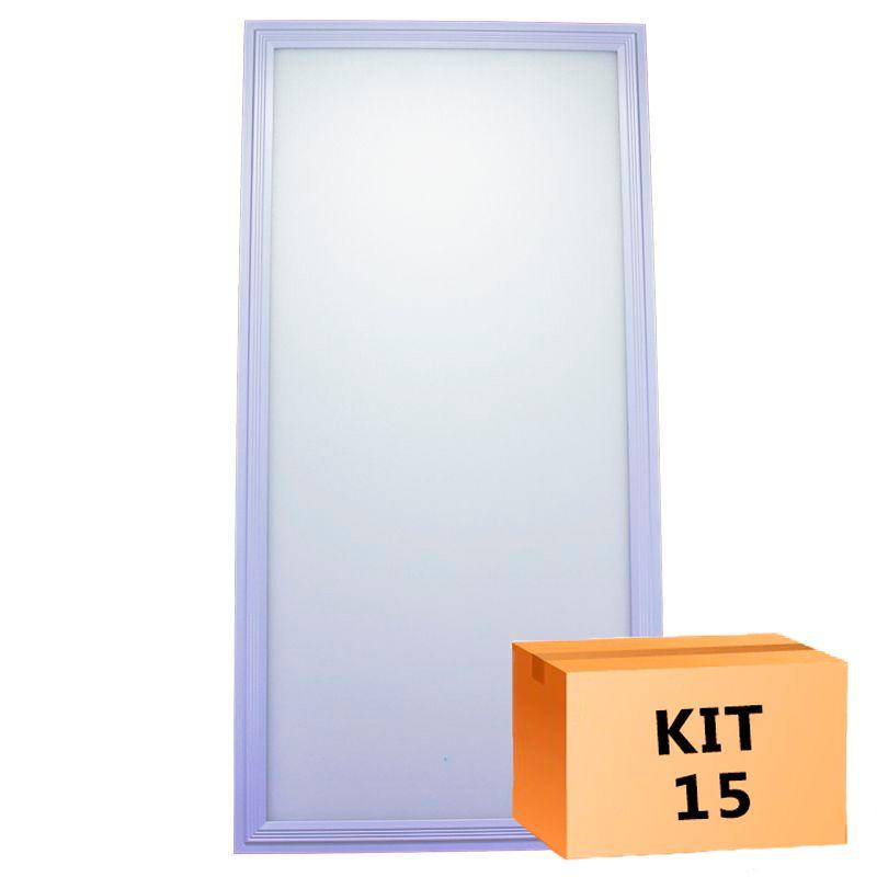 Kit 15 Plafon Led de Embutir Retangular  36W - 30 x 60 cm Branco Frio 6000K