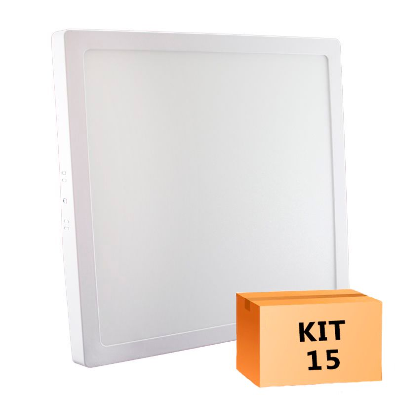 Kit 15 Plafon Led de Sobrepor Quadrado  24W - 30 x 30 cm Morno 4000K