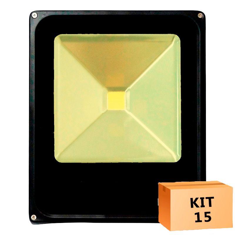 Kit 15 Refletor Led Slim 30W Branco Quente (Amarelo) Uso Externo