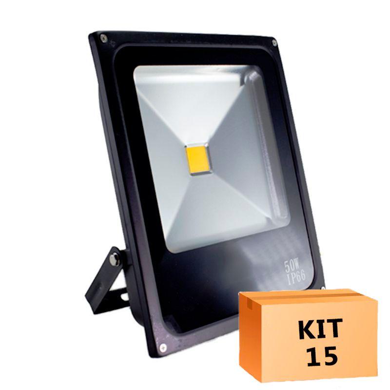Kit 15 Refletor Led Slim 50W Branco Frio Uso Externo