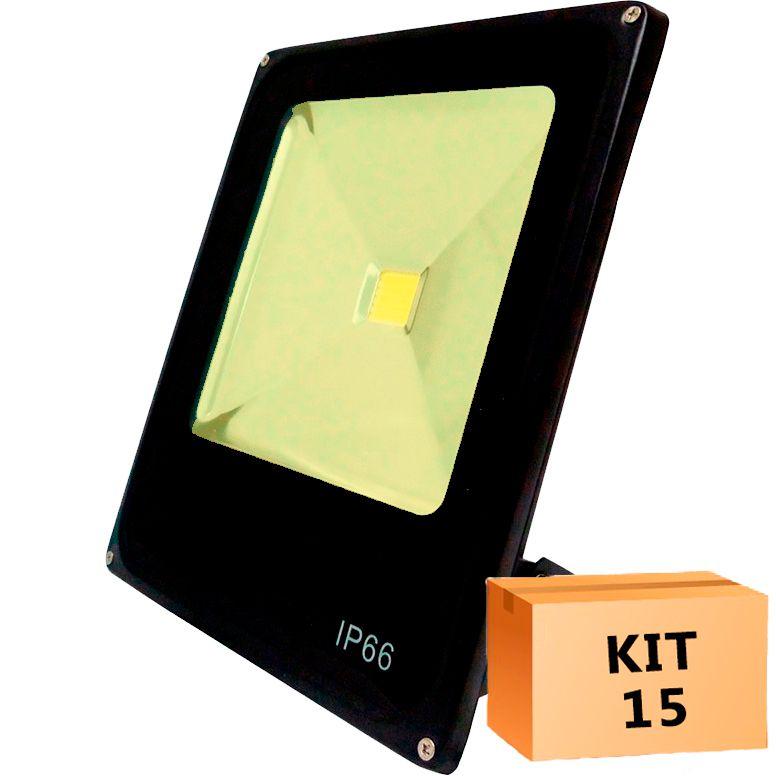 Kit 15 Refletor Led Slim 50W Branco Quente (Amarelo) Uso Externo