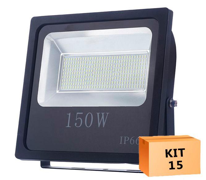 Kit 15 Refletor Led Slim SMD 150W Branco Frio Uso Externo
