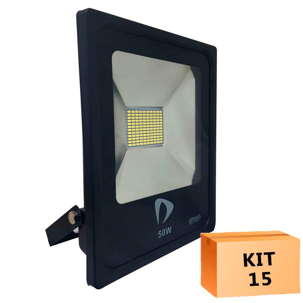 Kit 15 Refletor Led Slim SMD 50W Branco Quente Uso Externo