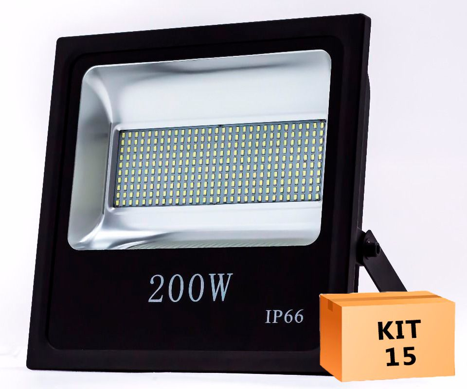 Kit 15 Refletor Led SMD 200W Branco Frio Uso Externo