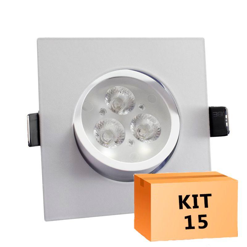 Kit 15 Spot Led direcionável Quadrado 3W Branco Frio 6000K