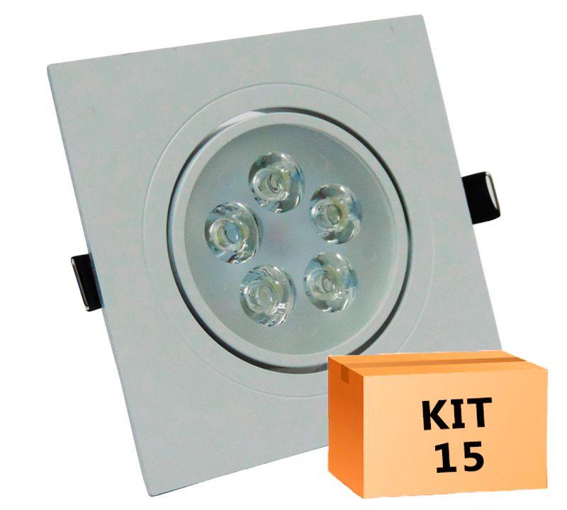 Kit 15 Spot Led direcionável Quadrado 5W Branco Frio 6000K