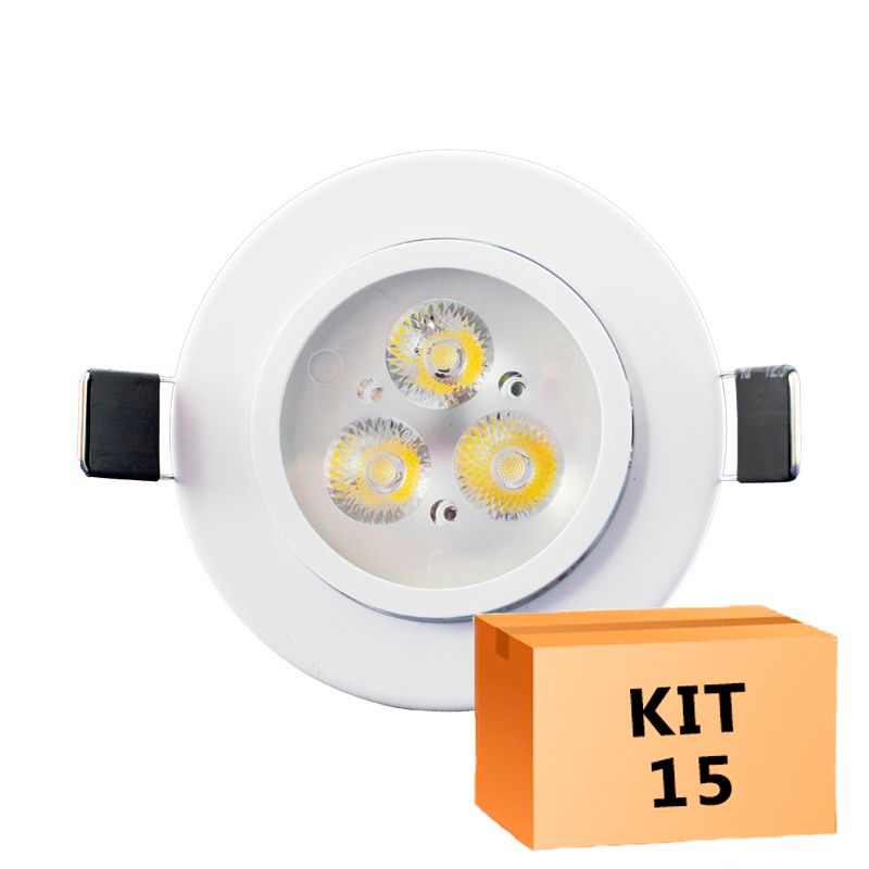 Kit 15 Spot Led Direcionável Redondo 3W Branco Frio 6000K