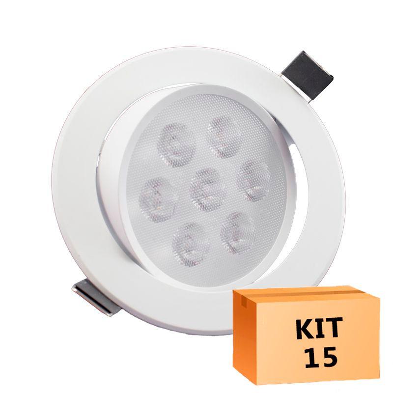 Kit 15 Spot Led Direcionável Redondo 7W Quente 3000K