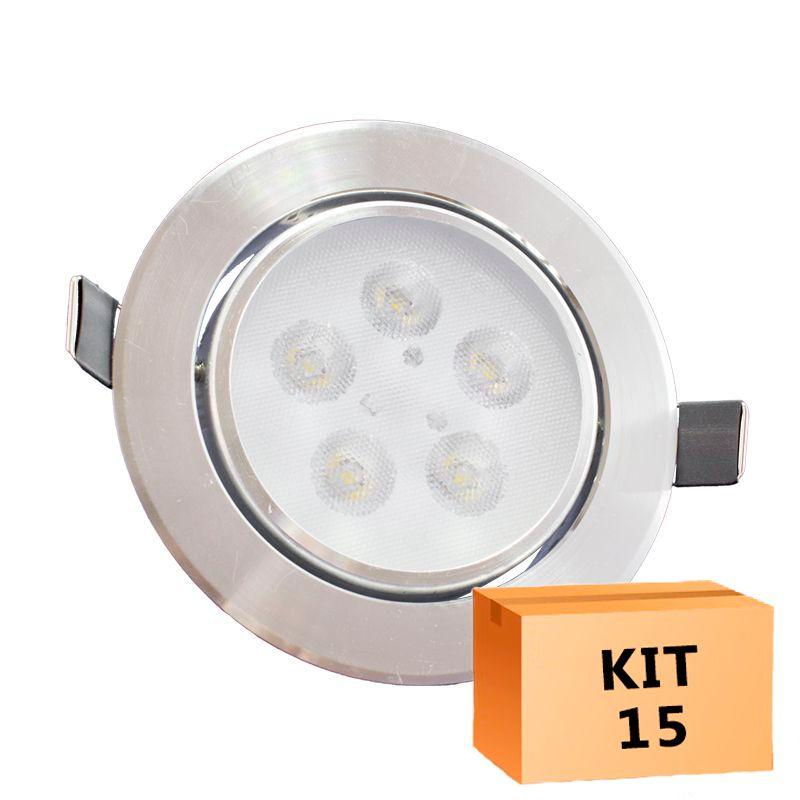 Kit 15 Spot Led Prata Direcionável Redondo 5W Quente 3000K