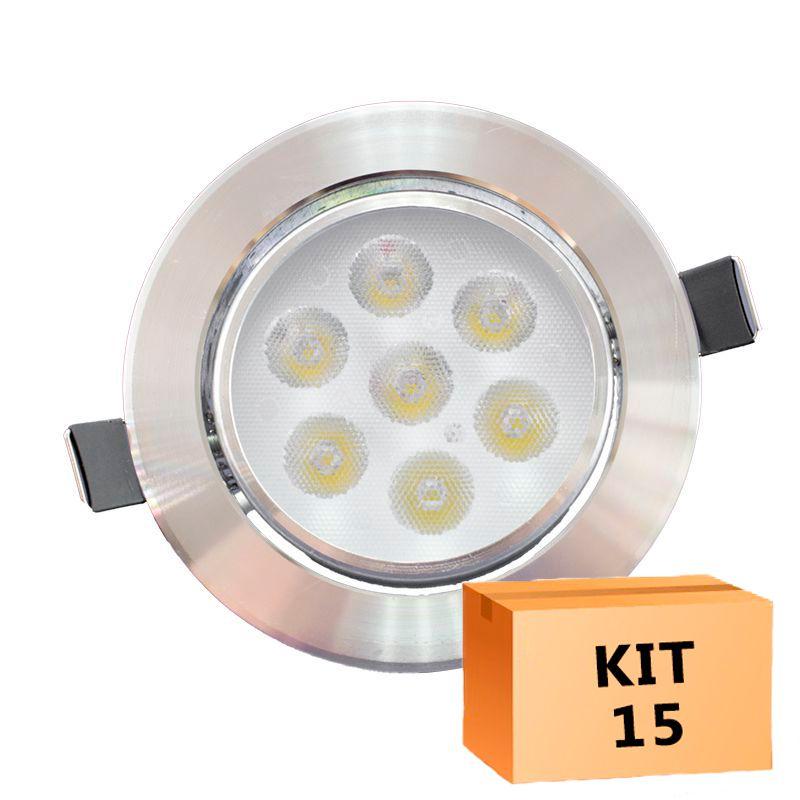 Kit 15 Spot Led Prata Direcionável Redondo 7W Quente 3000K
