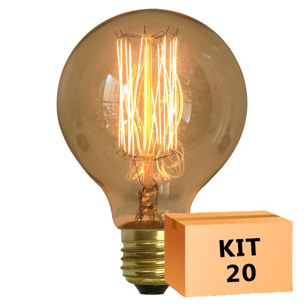 Kit 20 Lâmpada de Filamento de Carbono G125 Squirrel Cage 40W 220V