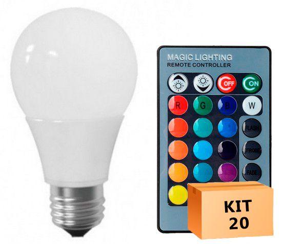 Kit 20 Lâmpada LED Bulbo 05W RGB
