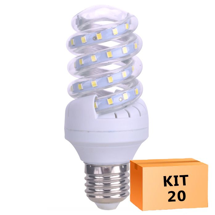 Kit 20 Lâmpada Led Espiral 07W