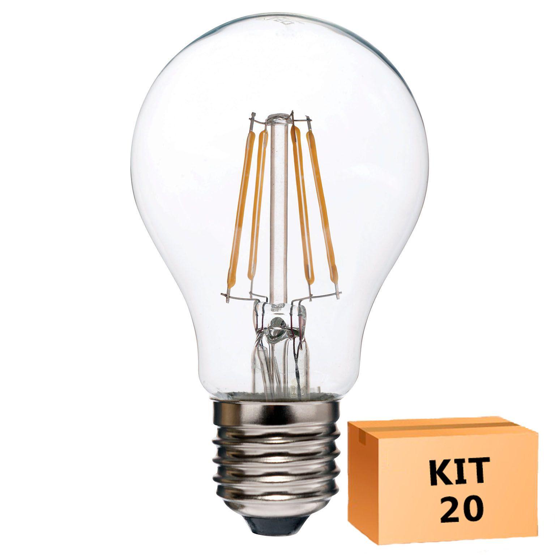 Kit 20 Lâmpada LED Filamento 4W Bulbo A60 Âmbar E27