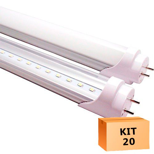 Kit 20 Lâmpada Led Tubular T8 18W 120 cm bivolt Branco Frio Transparente