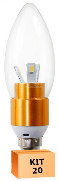 Kit 20 Lâmpada Led Vela 03W Soquete E14 Branco Quente