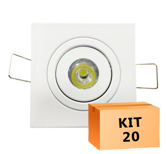Kit 20 Mini Spot Led Direcionável Quadrado 1W Quente 3000K