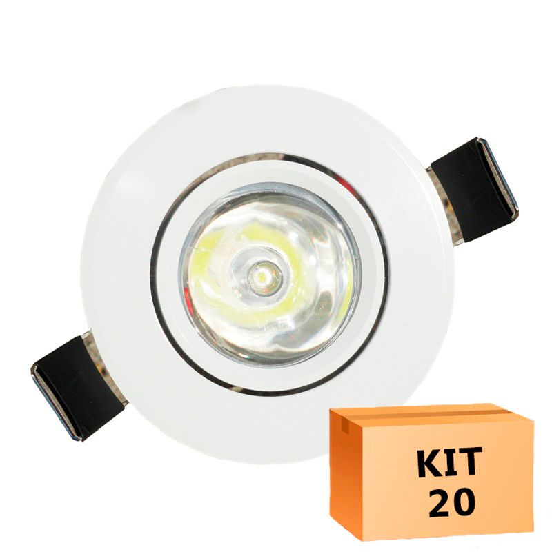 Kit 20 Mini Spot Led Direcionável Redondo 1W Branco Frio 6000K