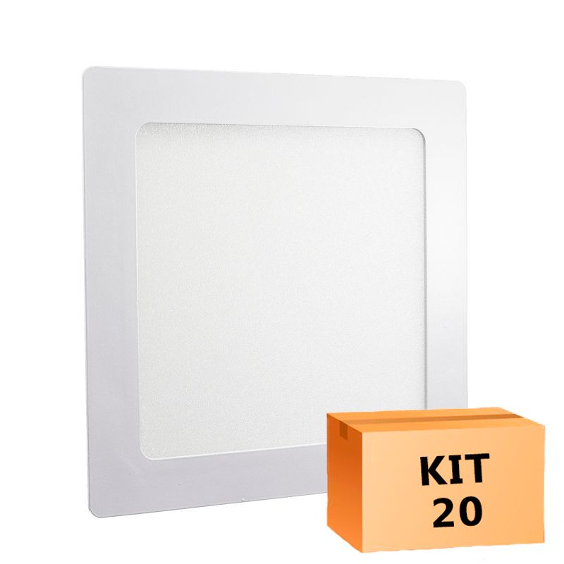 Kit 20 Plafon Led de Embutir Quadrado 18W - 22 x 22 cm Morno 4000K