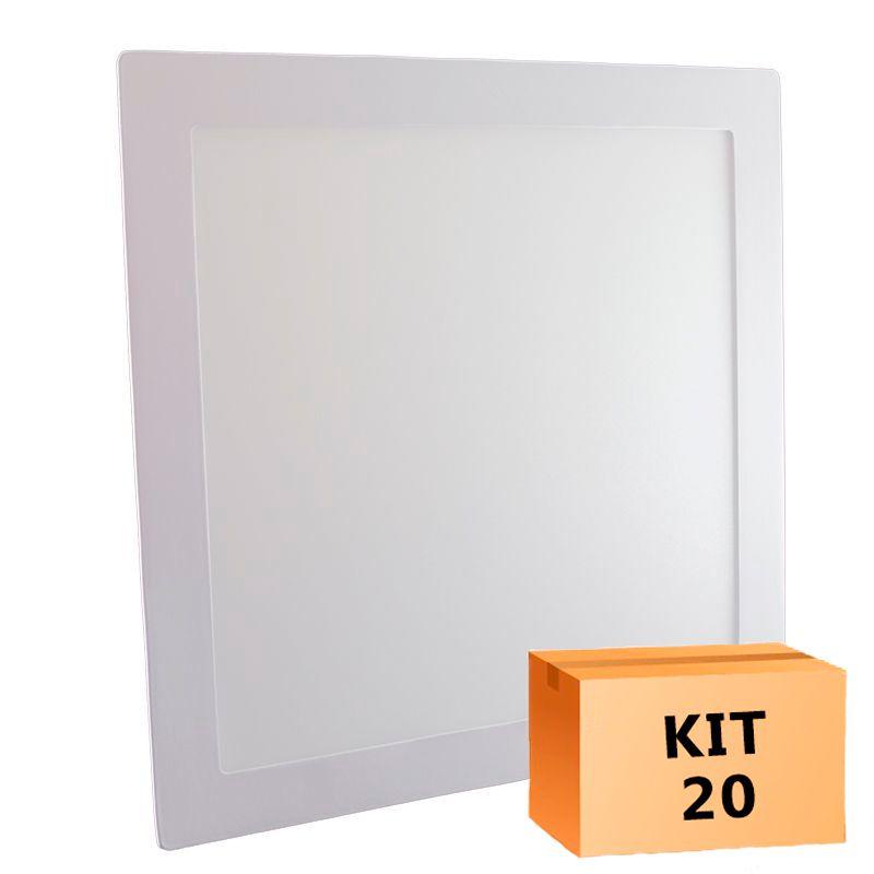 Kit 20 Plafon Led de Embutir Quadrado  24W - 30 x 30 cm Quente 3000K
