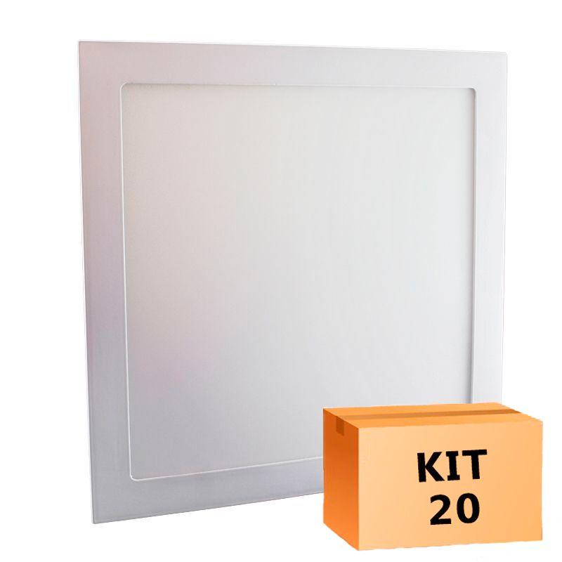 Kit 20 Plafon Led de Embutir Quadrado  32W - 30 x 30 cm Quente 3000K