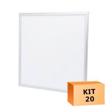 Kit 20 Plafon Led de Embutir Quadrado  36W - 40 x 40 cm Branco Frio 6000K