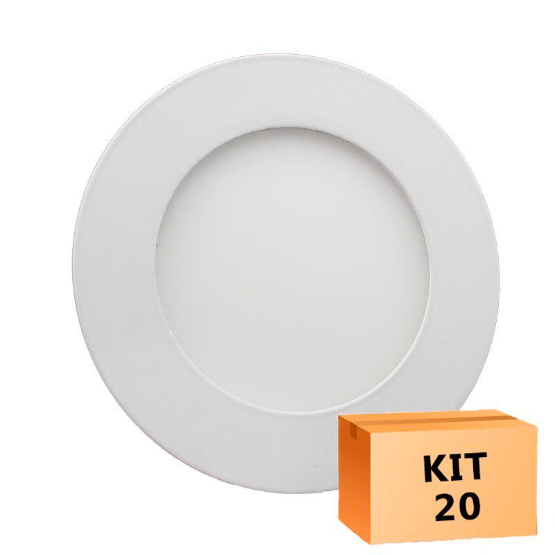 Kit 20 Plafon Led de Embutir Redondo  06W - 12,5 cm Branco Frio 6000K