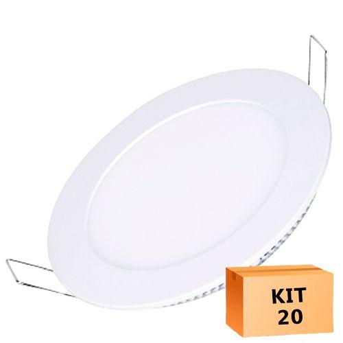 Kit 20 Plafon Led de Embutir Redondo  24W - 30 cm Quente 3000K