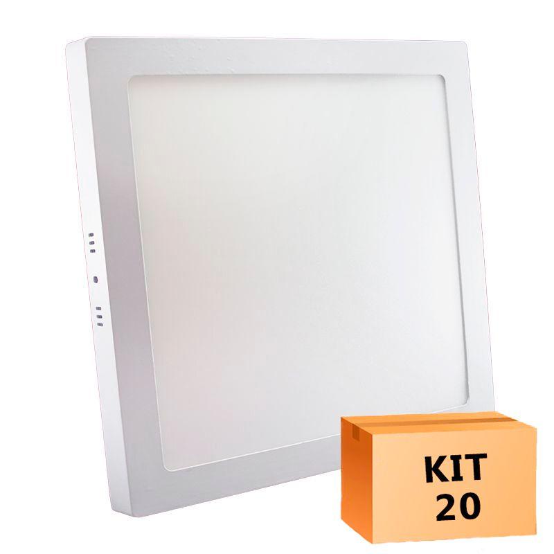 Kit 20 Plafon Led de Sobrepor Quadrado  32W - 30 x 30 cm Quente 3000K