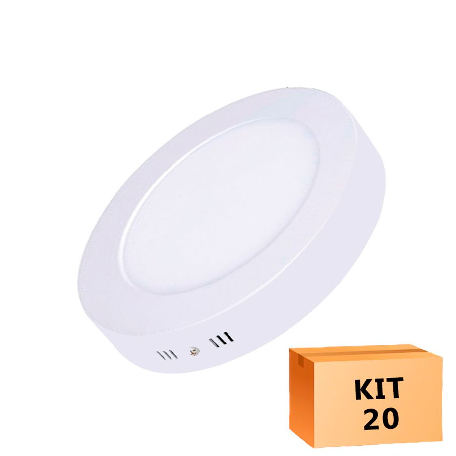 Kit 20 Plafon Led de Sobrepor Redondo  12W - 17,5 cm Morno 4000K
