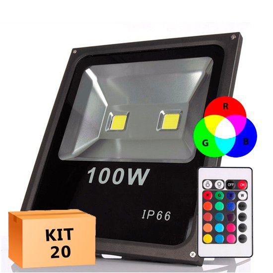 Kit 20 Refletor Led 100W RGB Uso Externo Com Garantia