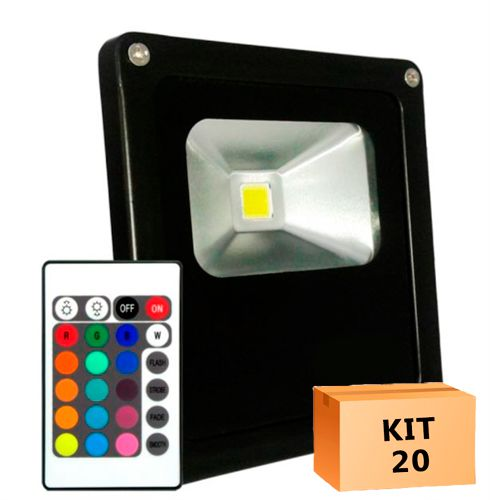 Kit 20 Refletor Led 20W RGB Uso Externo