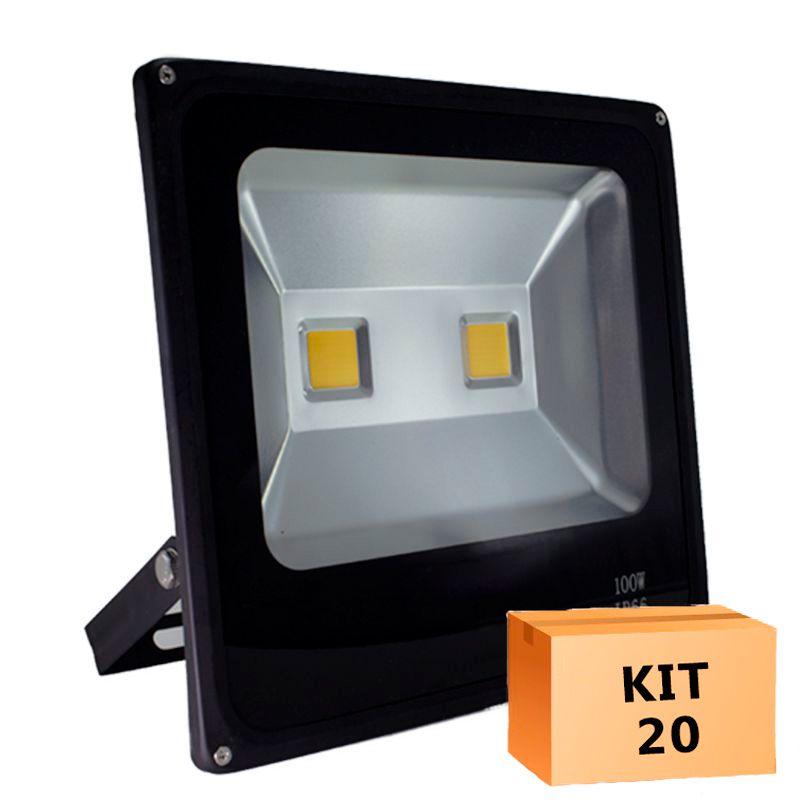 Kit 20 Refletor Led Slim 100W Branco Frio Uso externo