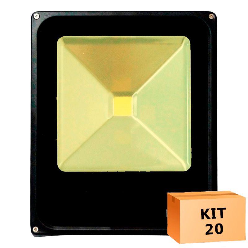 Kit 20 Refletor Led Slim 30W Branco Quente (Amarelo) Uso Externo