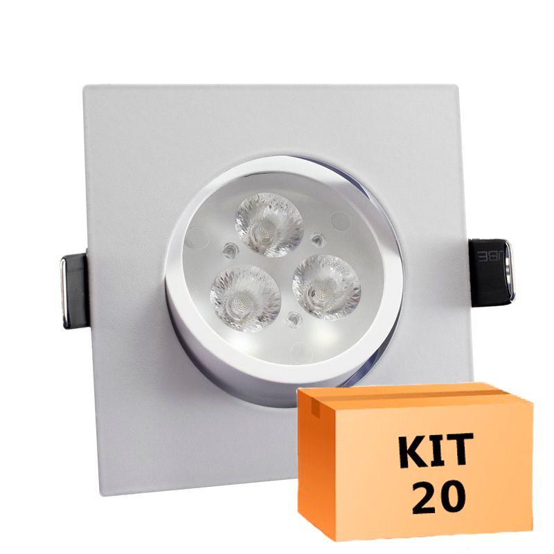 Kit 20 Spot Led direcionável Quadrado 3W Branco Frio 6000K