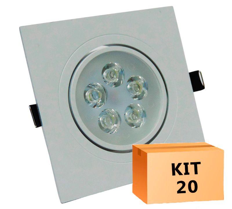 Kit 20 Spot Led direcionável Quadrado 5W Branco Frio 6000K