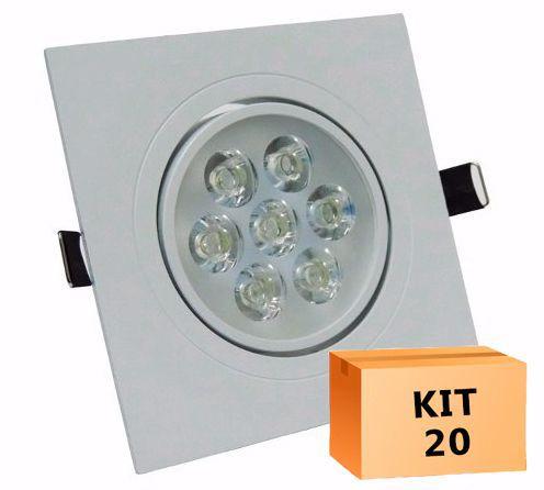 Kit 20 Spot Led direcionável Quadrado 7W Branco Frio 6000K