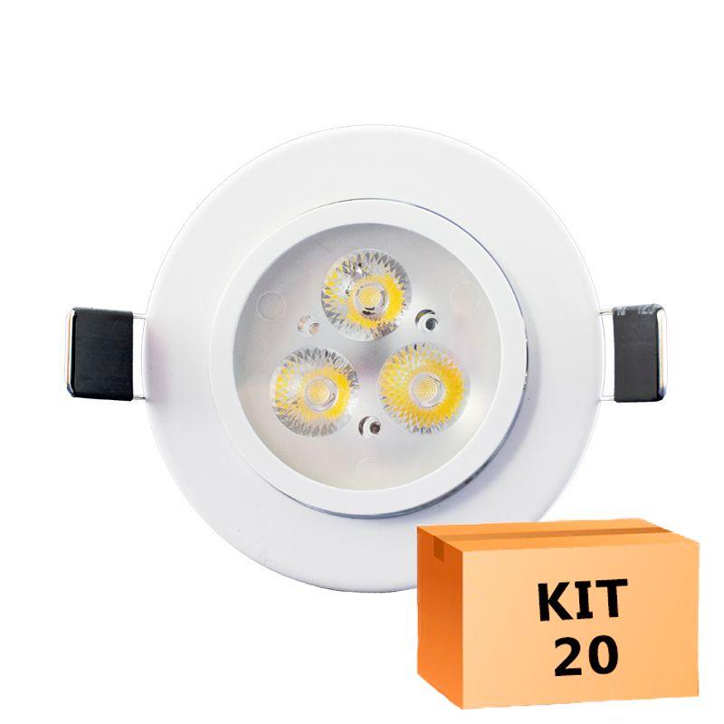 Kit 20 Spot Led Direcionável Redondo 3W Branco Frio 6000K
