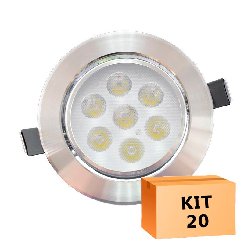 Kit 20 Spot Led Prata Direcionável Redondo 7W Branco Frio 6000K