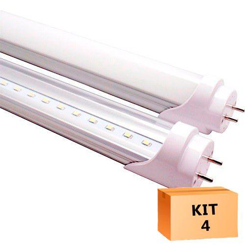Kit 4 Lâmpada Led Tubular T8 36W 240 cm bivolt Branco Quente Leitosa
