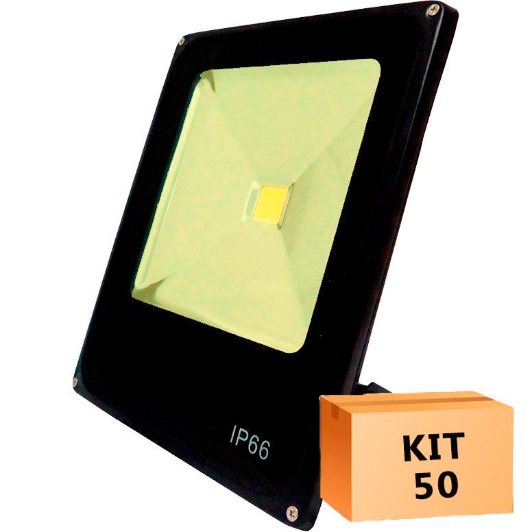 Kit 50 Refletor Led Slim 10W Branco Quente (Amarelo) Uso Externo