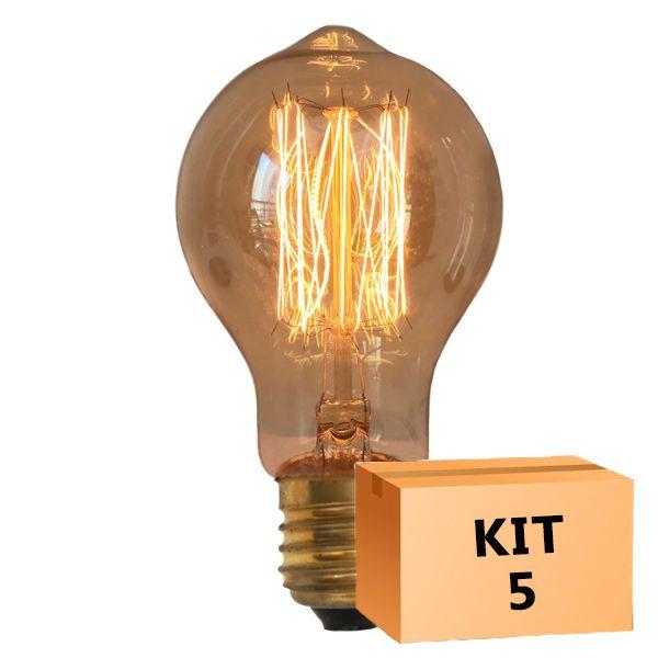 Kit 5 Lâmpada de Filamento de Carbono A19 Squirrel Cage 40W 220V