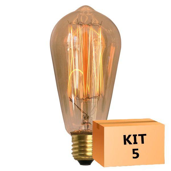 Kit 5 Lâmpada de Filamento de Carbono ST58 Squirrel Cage 40W 220V
