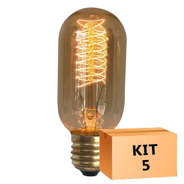 Kit 5 Lâmpada de Filamento de Carbono T45 Squirrel Cage 40W 110V