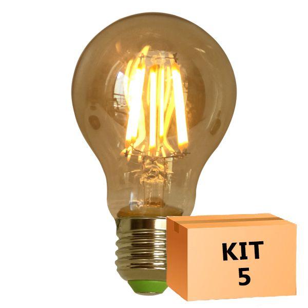 Kit 5 Lâmpada de Filamento de LED A19 Squirrel Cage Cage 4W 110V Dimerizável