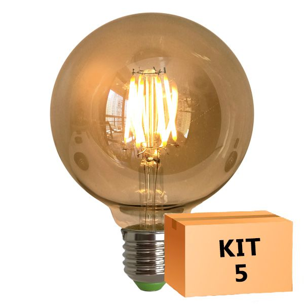 Kit 5 Lâmpada de Filamento de LED G95 Spiral 4W Bivolt
