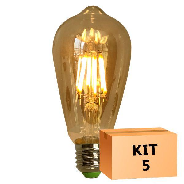 Kit 5 Lâmpada de Filamento de LED ST64 Squirrel Cage Cage 4W Bivolt